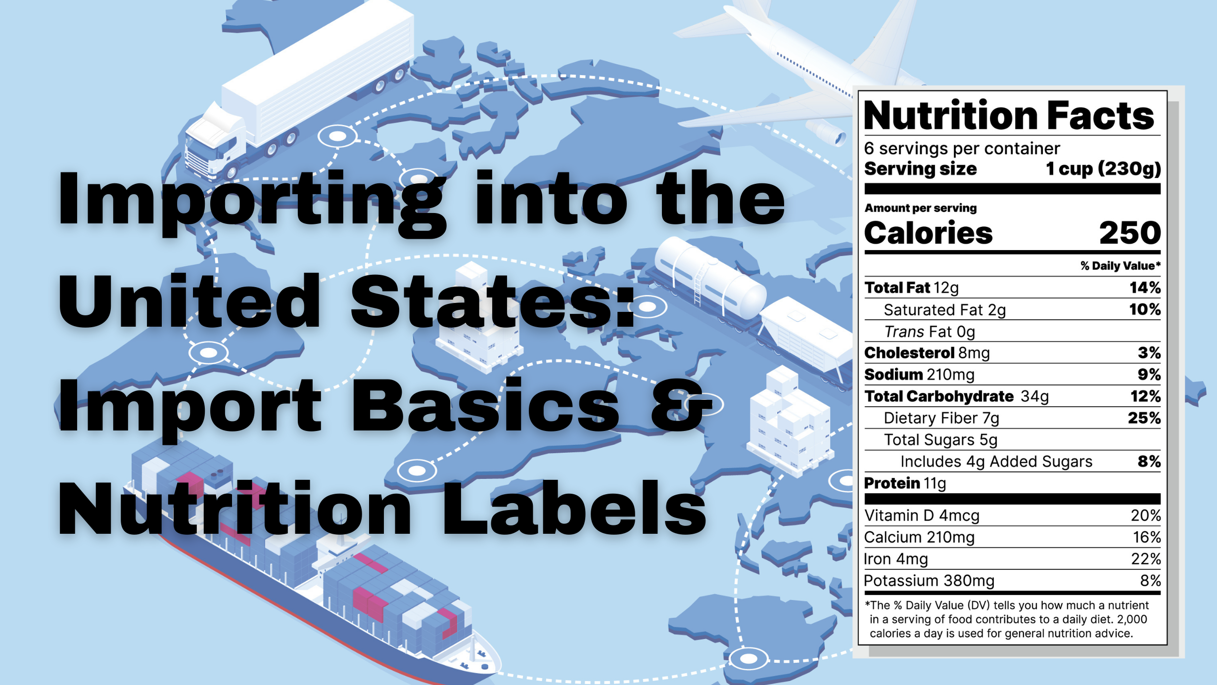 nutrition labels for import into the US