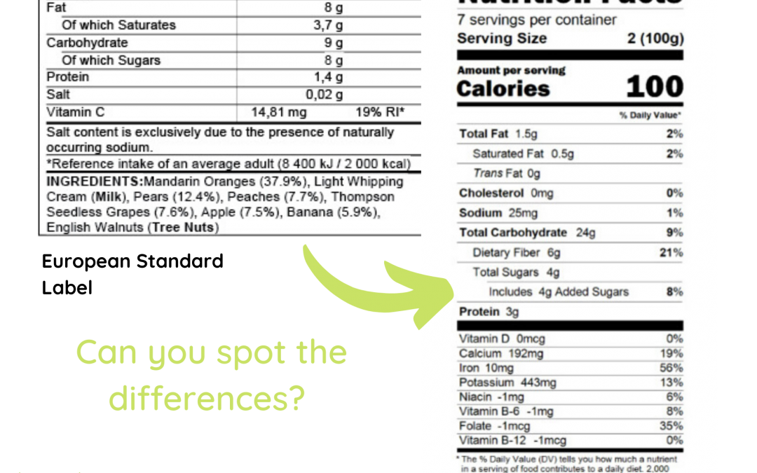 United States Nutrition Labels & EU Nutrition Labels: Making the Switch for Food Import