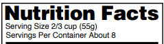 nutrition facts serving size